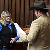 Garfield County Sheriff, Cory Rink, swears in Shawna Cornish-Pitman as Garfield County Under Sheriff Monday, January 4, 2021 at the Garfield County Courthouse. (Billy Hefton / Enid News & Eagle)