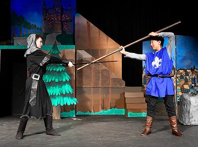 """Harrison Lyon and jacob Hassler rehearse a scene in the Gaslight Teen production of """"Excalibur"""" at the Gaslight Theater Wednesday, January 20, 2020. (Billy Hefton / Enid News & Eagle)"""