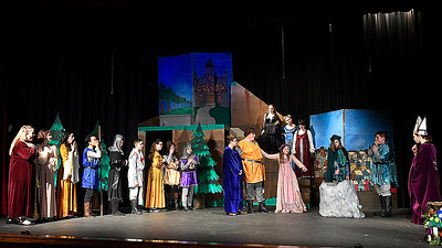 """Cast members of the Gaslight Teen production of """"Excalibur"""" rehearse a scene at the Gaslight Theater Wednesday, January 20, 2020. (Billy Hefton / Enid News & Eagle)"""