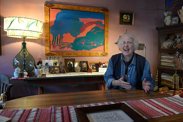 Margaret Moss laughs during an interview about being invited to exhibit artwork at the Vernon Filley Art Museum in Pratt, Kansas. (Billy Hefton / Enid News & Eagle)