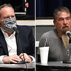 Ward 3 city commission candidates, Kent Rorick (left) and Keith Siragusa, during a candidate forum Tuesday, January 16, 2021 at the Stride Bank Center. (Billy Hefton / Enid News & Eagle)