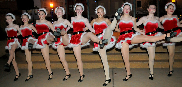Dance Works of Enid portray the Rockettes Friday during Enid Lights Up the Plains. (Staff Photo by BONNIE VCULEK)
