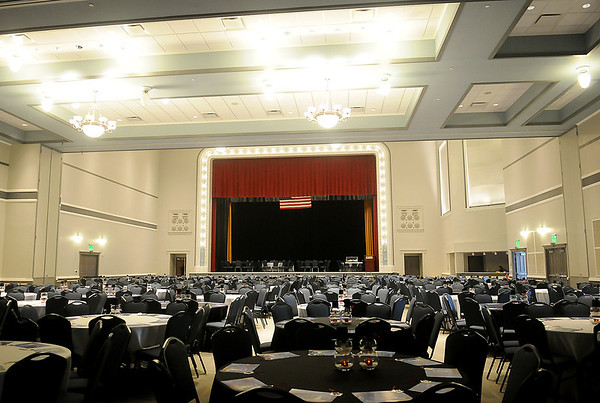 Enid's newly remodeled and reopened Convention Hall features a grand ballroom on the first floor where the basketball court once was. (Photo by BONNIE VCULEK)