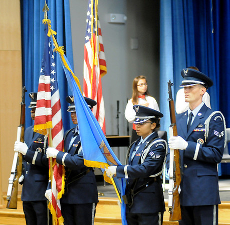 Vance Air Force Base Honor Guard posts the colors during Prairie View Elementary School's Veterans Day Assembly Friday. (Staff Photo by BONNIE VCULEK)