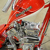 "Snap-on's ""Tool Chopper,"" designed and built by Orange County Choppers, features a miniature tool box under the seat, wrenches, rachetts, sockets, extensions, and hexagon shaped tubing in the frame of the unique bike. The Snap-on Masters of Metal Tool Trade Show displays included the Snap-on Funny Car, the specially designed chopper, and interactive activities for area customers. (Staff Photo by BONNIE VCULEK)"
