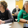 Northern Oklahoma College faculty (from left), Dr. DeLisa Ging, Jackie Johnson and Jerry Hawkins, participate during an NOC strategic planning town hall meeting Wednesday in the Zollars Building on the NOC Enid campus. (Staff Photo by BONNIE VCULEK)