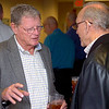 U.S. Sen. Jim Inhofe (left) visits with Lew Ward prior to a luncheon Tuesday at Woodring Airport. (Staff Photo by BILLY HEFTON)