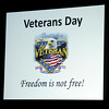 "A special ""Proud to be a Veteran"" slide proclaims that ""Freedom is not free!"" Friday during the Prairie View Elementary School Veterans Day Assembly. (Staff Photo by BONNIE VCULEK)"
