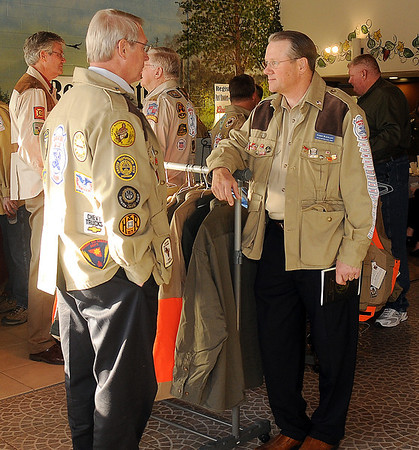 Shooters visit during the Grand National Quail Hunt festivities at Best Western Tuesday. (Staff Photo by BONNIE VCULEK)