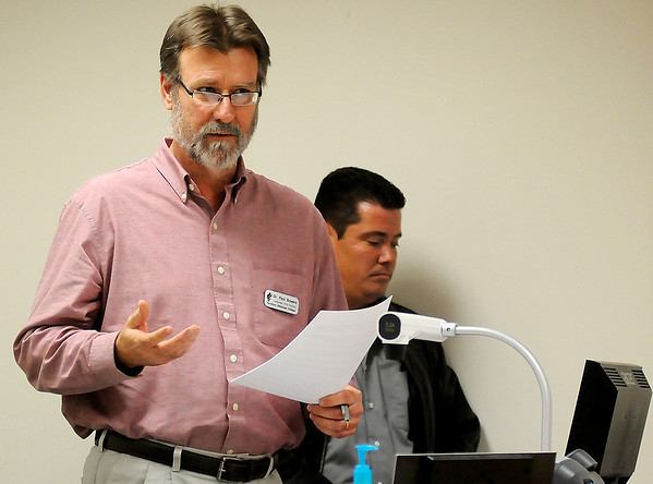 Dr. Paul Bowers, language arts professor at Northern Oklahoma College, discusses the importance of community involvement during an NOC strategic planning town hall meeting Wednesday in the Zollars building on the NOC Enid campus. (Staff Photo by BONNIE VCULEK)