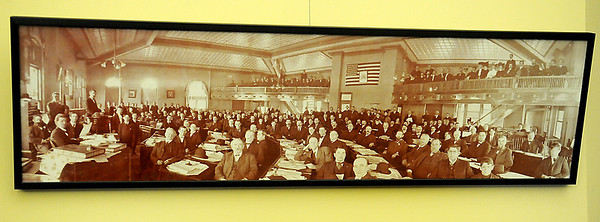 Framed portrait from the Oklahoma Constitutional Convention of 1906-07. (Staff Photo by BONNIE VCULEK)