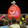 Marvin Nash carries his PBR Bull Riding Rodeo Clown barrel around during an anti-bullying presentation at Garfield Elementary School Friday, Nov. 15, 2013. (Staff Photo by BONNIE VCULEK)