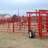 The portable corral on wheels designed by Diamond W. Corral and built at Burlington Welding, LLC allows farmers and ranchers to set up the unit on various types of terrain providing both strength and mobility needed for uneven ground. Burlington Welding, LLC, 1101 Industrial Blvd in Cherokee, Okla., just built the 1,000th Diamond W Corral. (Staff Photo by BONNIE VCULEK)
