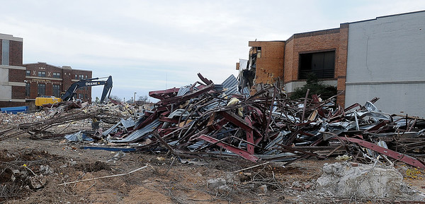 Demolition continues on the Cherokee Strip Conference Center Saturday, Nov. 23, 2013. (Staff Photo by BONNIE VCULEK)