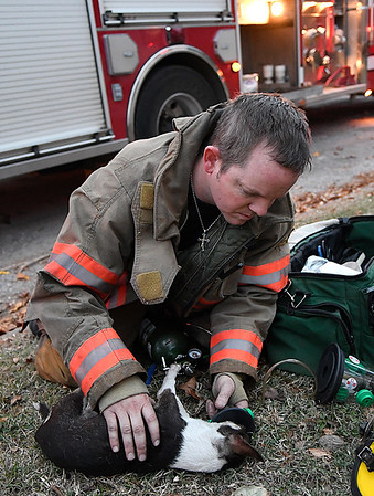 Enid firefighter, Harley Long, gives oxygen to a small dog pulled from a house fire at 1415 E. Maple Monday November 21, 2016. The dog responded to the oxygen and appeared to recover. (Billy Hefton / Enid News & Eagle)