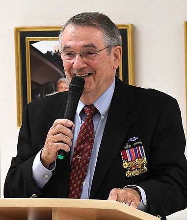 Lt. Col. Arthur W. Reed (U.S. Army, Retired) smiles as he talks to the Garfield County Republican Woemen luncheon Friday November 11, 2016 at the Enid YWCA. (Billy Hefton / Enid News & Eagle)