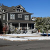 The front yard of the house on the corner of Polk and Maine is covered with fake snow for filming of the movie Wildlife Wednesday November 16, 2016. (Billy Hefton / Enid News & Eagle)