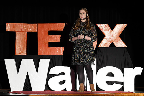 Waller Middle School eighth grader, Charlee Maloy, gives her Tedx talk Saturday November 18, 2016 at Waller Middle School. (Billy Hefton / Enid News & Eagle)
