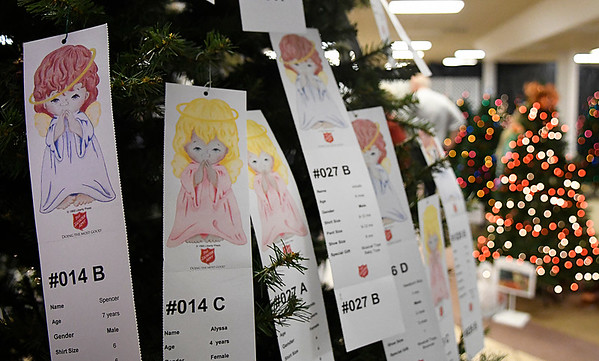 Angels hang on the Angel Tree during the kickoff of the Salvation Army's Spruce Up a Life Monday November7, 2016 at Oakwood Mall. (Billy Hefton / Enid News & Eagle)