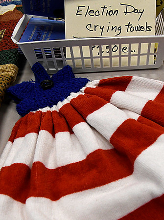 Election day towels for sale during the Oklahoma Mennonite Relief Sale Saturday November 5, 2016 at the Garfield County Fairgrounds. (Billy Hefton / Enid News & Eagle)