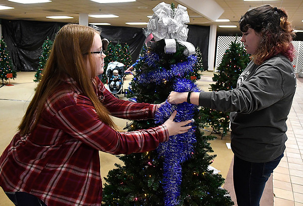 Erin Perkins and Carys Delaplane wrap garland around the Enid FCCLA decorated tree during the kickoff of the Salvation Army's Spruce Up a Life Monday November7, 2016 at Oakwood Mall. (Billy Hefton / Enid News & Eagle)