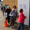 Voters stand in line to cast their votes during early voting Thursday November 3, 3016 at the Garfield County Election Board. (Billy Hefton / Enid News & Eagle)