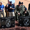 (left) Former members of the 3rd Flying Training Squardron look for their names on the back of a plaque following a ceremony honoring the squardron on it's 100th anniversary Friday November 4, 2016 at Vance Air Force Base. (Right) Current members read the names on the back of a plaque following a ceremony honoring the squardron on it's 100th anniversary. (Billy Hefton / Enid News & Eagle)