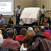 The People's Choice winning quilt is auctioned during the Oklahoma Mennonite Relief Sale Saturday November 5, 2016 at the Garfield County Fairgrounds. The quilt was donated by the Friendship Quilters from the Grace Mennonite Church in Enid. (Billy Hefton / Enid News & Eagle)