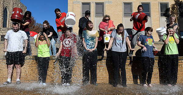 NOC Enid students take part in the ALS Ice Bucket Challenge Tuesday November 22, 2016. (Billy Hefton / Enid News & Eagle)