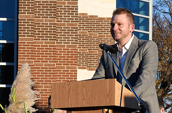Colin Abernathy, president Enid public schools board of education, talks during a groundbreaking ceremony for a competitive gymnasium and performing arts center at Enid High School Wednesday November 15, 2017. (Billy Hefton / Enid News & Eagle)