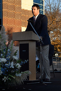 Enid High senior, Austin Whitehead, gives a thank you from the students during a groundbreaking ceremony for a competitive gymnasium and performing arts center at Enid High School Wednesday November 15, 2017. (Billy Hefton / Enid News & Eagle)