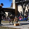 Enid K-9 officer Cody Smith and Fett do a drug detection demonstration at Monroe Elementary Wednesday November 15, 2017. (Billy Hefton / Enid News & Eagle)