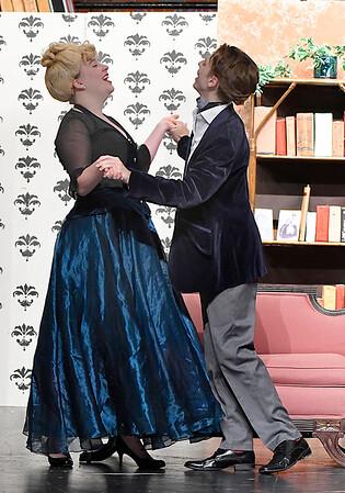 "Carol Jarrett and Derek Wheeler rehearse a scene in the Enid High School production of ""Play On""  November 2, 2017. (Billy Hefton / Enid News & Eagle)"
