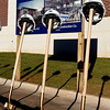 Shovels and hard hats stand ready during a groundbreaking ceremony for a competitive gymnasium and performing arts center at Enid High School Wednesday November 15, 2017. (Billy Hefton / Enid News & Eagle)