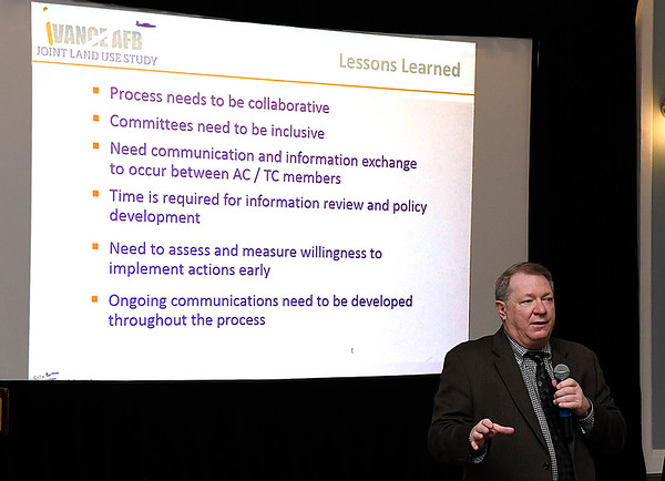Mike Hrapla Matrix Design Group deputy project manager for the Vance Air Force Base Joint Land Use Study, speaks during a kickoff meeting Monday November 6, 2017 at the Central Natikonal Bank Center. (Billy Hefton / Enid News & Eagle)