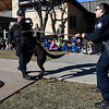 Enid K-9 officers Cody Smith and Michele James do a K-9 demonstration with Ren at Monroe Elementary Wednesday November 15, 2017. (Billy Hefton / Enid News & Eagle)