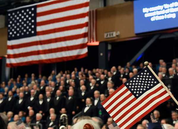 Members of the Singing Churchwomen and Singing Churchmen of Oklahoma perform during the Celebrate America concert Thursday November 15, 2018 at the Central National Bank Center. (Billy Hefton / Enid News & Eagle)