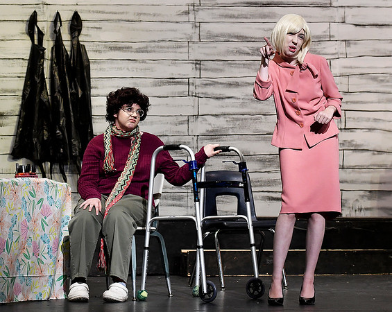 """Taylor Bryant (left) and Ave Lebaron rehearse a scene of the Enid High School production of """"Hallelujah Girls"""" Thursday, November 7, 2019 at the Enid High School auditorium. Performances will be Thursday, November 14 and Friday, November 15 at 7:30 p.m. both nights. (Billy Hefton / Enid News & Eagle)"""
