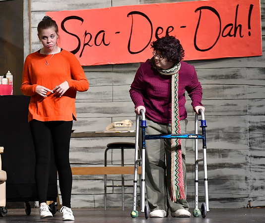 """Jersey Garrett and Taylor Bryant rehearse a scene of the Enid High School production of """"Hallelujah Girls"""" Thursday, November 7, 2019 at the Enid High School auditorium. Performances will be Thursday, November 14 and Friday, November 15 at 7:30 p.m. both nights. (Billy Hefton / Enid News & Eagle)"""