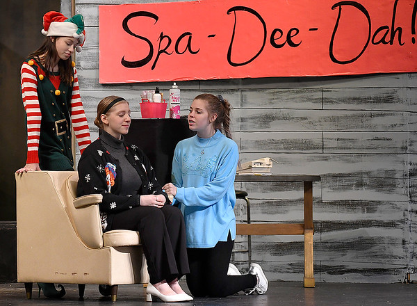 """Gabi Nelson, Charlee Malloy and Jersey Garrett rehearse a scene of the Enid High School production of """"Hallelujah Girls"""" Thursday, November 7, 2019 at the Enid High School auditorium. Performances will be Thursday, November 14 and Friday, November 15 at 7:30 p.m. both nights. (Billy Hefton / Enid News & Eagle)"""
