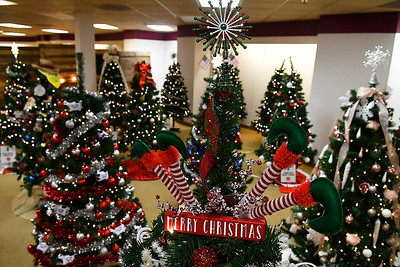 Some of the trees for the Salvation Army's Spruce Up a Life at the Angel Tree store indise Oakwood Mall Friday, November 22, 2019. The trees were decorated by individuals, families and corporation and will be delivered to families in need. (Billy Hefton / Enid News & Eagle)