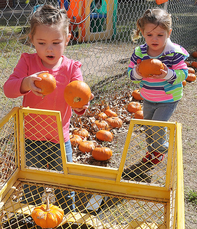 Madison Wolever (left) and Ashlynn Parker load small pumpkins into a wagon Thursday at Christ United Methodist Church's Pumpkin Patch. (Staff Photo by BONNIE VCULEK)