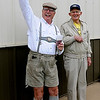 Steve Nafus sports traditional German lederhosen as he sips a glass of Spaten Oktoberfest with Bob Krieg, from the Railroad Museum, during Redeemer Lutheran Church's Oktoberfest celebration Saturday. (Staff Photo by BONNIE VCULEK)