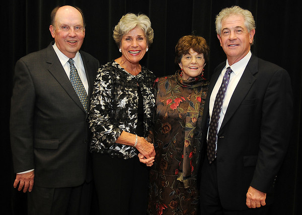 Dan and Kay Dillingham, Joan Allen and her son, Mark Allen (from left) pause for a portrait during the Enid Public School Foundation Hall of Fame Banquet Tuesday at the Gantz Center on the Northern Oklahoma College-Enid campus. The Dillinghams, Joan and Paul Allen were honored for their unselfish devotion and contributions to Enid Public School students. (Staff Photo by BONNIE VCULEK)