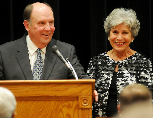 Dan Dillingham (left) and his wife, Kay, thank the Enid Public School Foundation Tuesday during the annual Hall of Fame Banquet at the Gantz Center on the Northern Oklahoma College-Enid campus. The Dillinghams and Joan and Paul Allen were honored for their unselfish devotion and contributions to Enid Public Schools. (Staff Photo by BONNIE VCULEK)