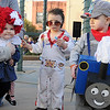 Little Raggedy Ann Doll Reese Lenherr, Little Elvis Zachariah Cullens, and Little Thomas the Train Jayden MacDougall pause for a portrait after winning the 0-4 costume contest Saturday at Scare on the Square on the Garfield County Court House lawn. (Staff Photo by BONNIE VCULEK)