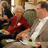 Oklahoma Senator Patrick Anderson (right) visits with Ruth Ann Moehle about Wednesday's Presidential Debate during the Garfield County Republican Women's Tea Thursday in the home of Brent and Marcy Price. (Staff Photo by BONNIE VCULEK)