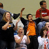 Guymon fans erupt as the Lady Tigers score three back-to-back points against the Oklahoma Bible Academy Lady Trojans during the OSSAA 5A Regional Volleyball Tournament finals Tuesday in Enid. (Photo by BONNIE VCULEK, Enid News & Eagle)