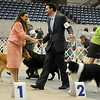 Brian Livingston receives congratulations from a fellow agent Saturday after Livingston placed first in the Herding Group with Ch. Borderfame Signature, owned by Kyle Mosing and Dionne Butt, from Youngsville, LA during the Sooner State Kennel Club Dog Show at the Chisholm Trail Expo Center Coliseum. (Staff Photo by BONNIE VCULEK)