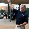 Americans For Prosperity Oklahoma State Director Stuart Jolly, LTC, U.S.Army (Retired), tosses a stress reliever into the crowd during the AFP Oklahoma Obama's Failing Agenda Tour at the Garfield County Court House Thursday. (Staff Photo by BONNIE VCULEK)